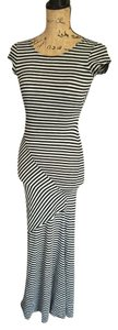 Black/Grey Maxi Dress by Wet Seal Maxi Striped Cut-out Cap-sleeve Black And Grey