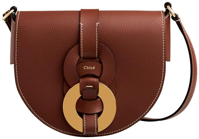 Item - Small Darryl Saddle In Small Grain & Smooth Calfskin Sepia Brown Leather Cross Body Bag