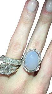 Vintage style opal and pave diamond ring
