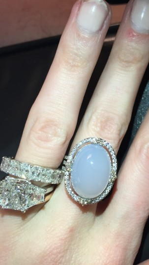 Other Vintage style opal and pave diamond ring