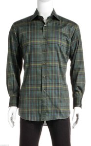 Etro Etro Green Multicolor Long Sleeve Plaid Button Down Men's Shirt (size 42)