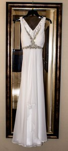 Faviana 6916- Beaded Chiffon Wedding Dress With Cross Back Wedding Dress