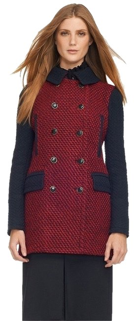 Preload https://item2.tradesy.com/images/tory-burch-red-navy-tweed-wool-boucle-winter-military-jacket-pea-coat-size-6-s-10217371-0-1.jpg?width=400&height=650