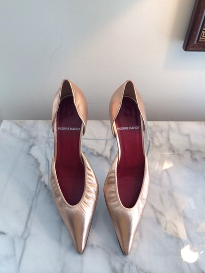 Pierre Hardy D'orsay Metallic Leather Rose Gold Pumps