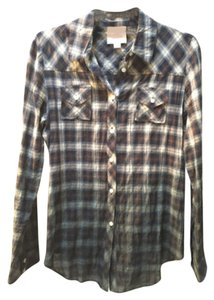 Romeo & Juliet Couture Button Down Shirt Navy/White/Forest Green