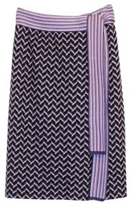 Missoni Luxe Wrap Purple Knit Chevron Skirt Purple, Black