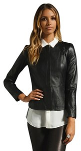 Theory Leather Lambskin Peplum Leather Jacket