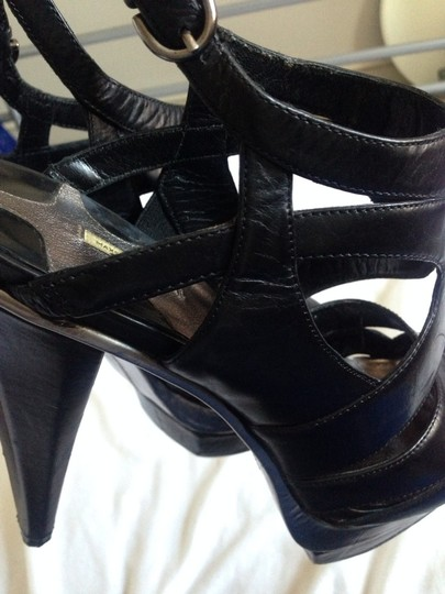 Max Studio Stacked Pump Silver Silver Hardware Ankle Strap Black Leather Platforms