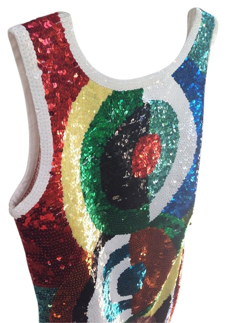 Adrienne Vittadini Sequins Disco Geometric Abstract Colorful Dress Image 1