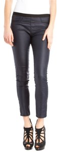 Helmut Lang Dark Grey Coated Cropped Capri Sexy Chic Fitted Leggings