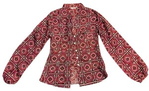 Stella Forest Silk Top pink and red-patterned