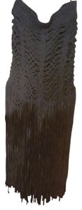 sass & bide Fringe Hem Crochet Mini Skirt Ink