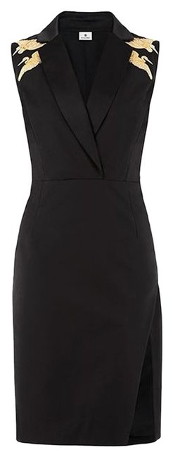 Item - Black Tailored Crane Embroidery Mid-length Night Out Dress Size 2 (XS)