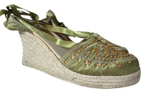 Social Occasions by Mon Cheri Espadrille Green & Natural Wedges