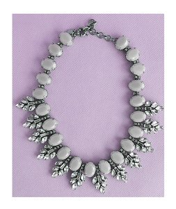 Grey Crystal Jewel Statement Necklace - Bridal Bridesmaids