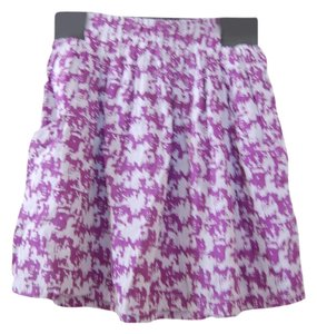 Francesca's Vintage Pockets Mini Skirt Purple, Gray, Houndstooth Print