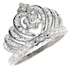 Jewelry Unlimited 10k White Gold Heart Crown Tiara Flower Genuine Diamond Statement Ring 0.15ct