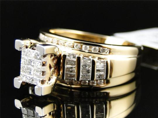 Jewelry Unlimited LADIES YELLOW GOLD PRINCESS CUT DIAMOND ENGAGEMENT WEDDING BRIDAL RING SET 1 CT