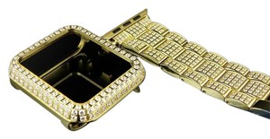 Other Yellow Finish Stainless Steel Apple I-watch Ready Created Diamond Bezelbracelet