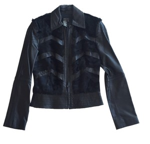 BCBGMAXAZRIA Black and fur Leather Jacket