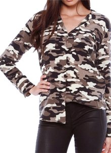 Equipment Print Silk Longsleeve Buttondown Sizes Camouflage Multi Printed Shirt Femme Camoflage Small Womens Top Camo