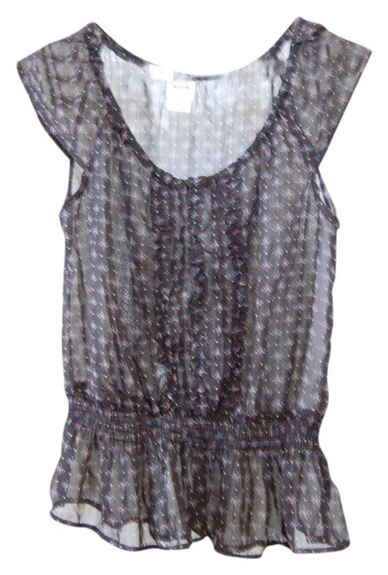 Mossimo Supply Co. Vintage Target Peplum Print Chiffon Top Black, Print