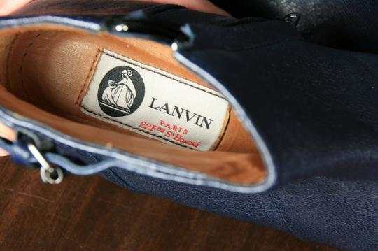 Lanvin Leather Ankle Wedge Heel Wedge Navy Boots