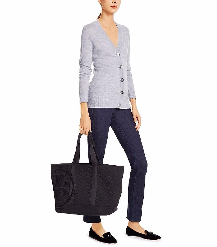 a41b83ee7801 Tory Burch Penn Quilted Mid Zip Black Tote - Tradesy