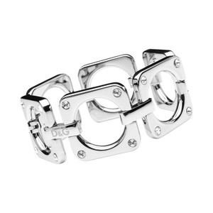 Dolce&Gabbana Steel and Crystal set Square Link Bracelet