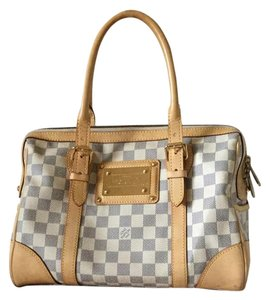 Louis Vuitton Damier Azur Speedy Berkeley Satchel in Beige & Gray