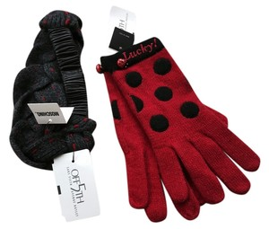 Moschino Moschino wool and leather headband and Polka dot gloves