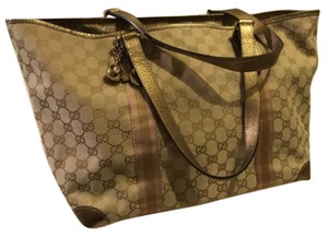 Gucci Gg Charm Tote in Gold And Gucci Logo