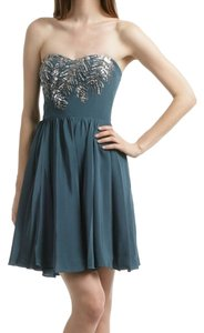 Rebecca Taylor Alice Olivia Joie Sweetheart Strapless Embellished Beaded Teal Blue Geen Emerald Siver Sequin Bodice Ashley Tidsdale Dress