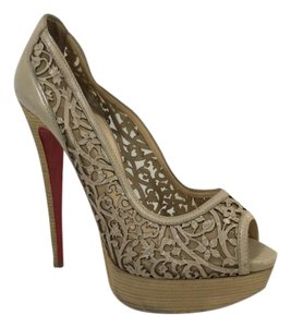 Christian Louboutin Loubs Red Bottoms Tan Pumps