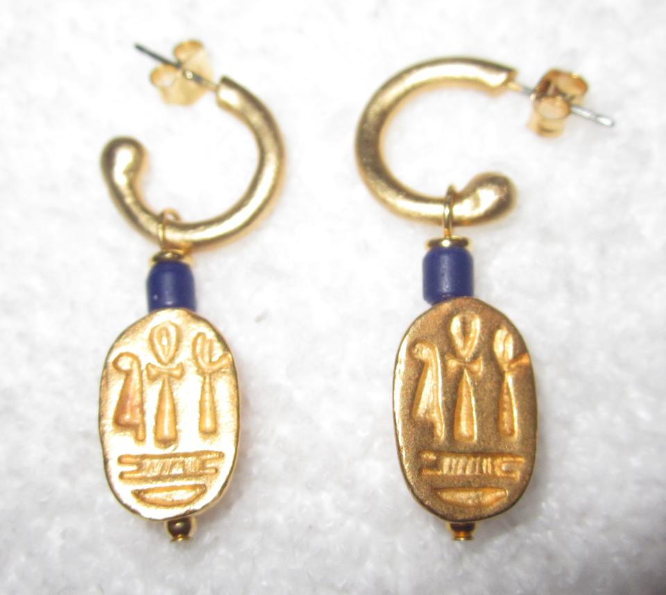 Gold and Dark Blue New Egyptian & Lapis Scarab Earrings Boston Pierced