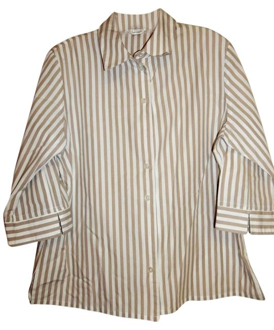 Preload https://item3.tradesy.com/images/kim-rogers-brown-and-white-brownwhite-stripes-blouse-size-petite-10-m-10224067-0-1.jpg?width=400&height=650