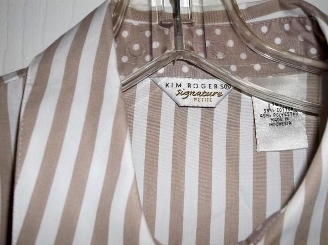 Kim Rogers Size 10p Stripes Career Top Brown and White