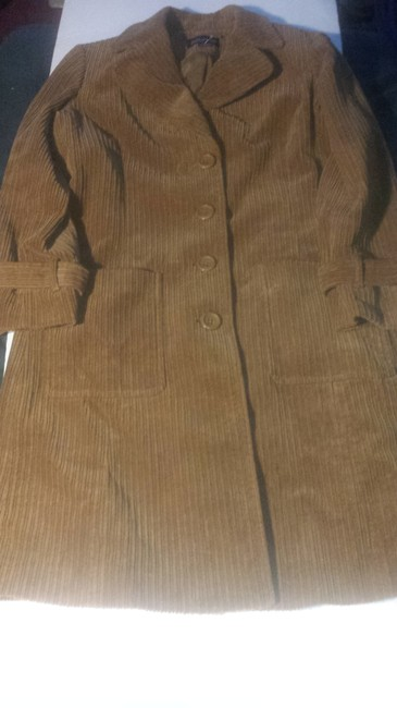 Jones New York Corduroy Jacket Longsleeve Cotton 3 Quarter Length Button Down Pull Up/Down Collar Trench Coat