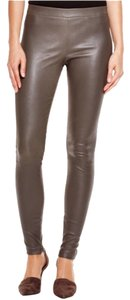 Vince Leather Legging Zipper Pants Dark Ceramic Leggings