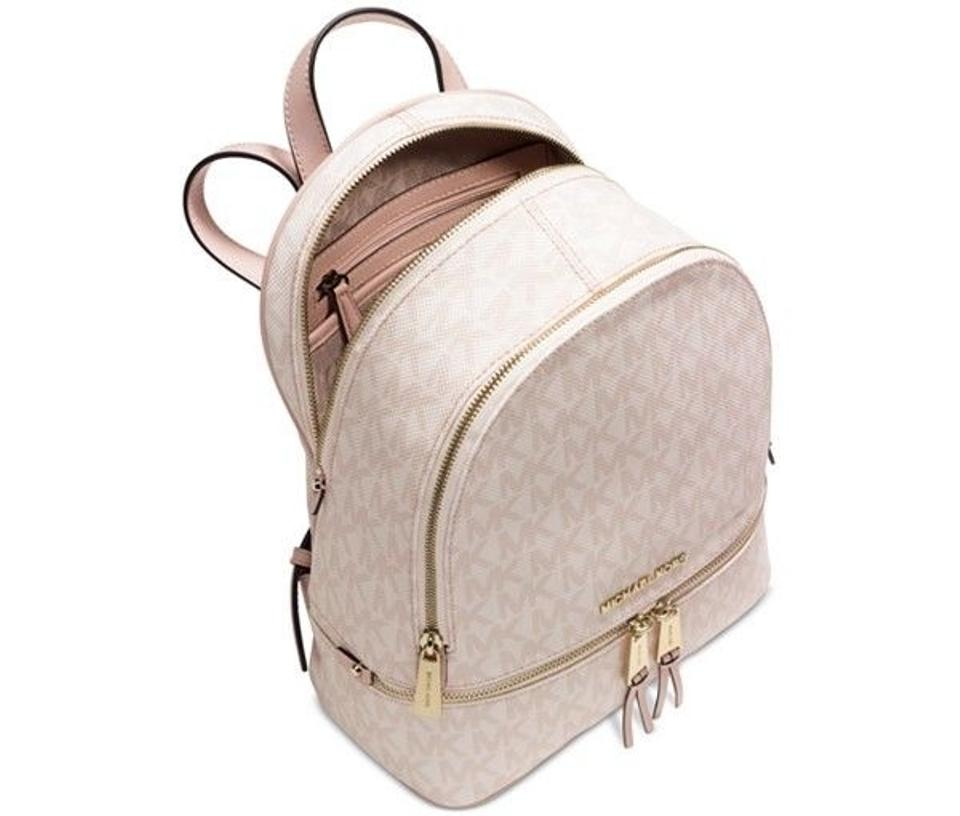 a801c5cd06f2 shop michael kors pink gold pebble leather rhea zip small backpack bag  alternate view 1 7470e ca90a  sweden michael kors backpack. 12 54adc 9f861