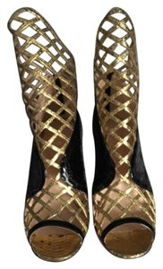 Christian Louboutin Black/Gold Python Sandals