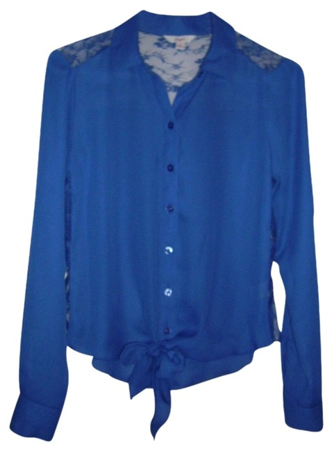 Preload https://item2.tradesy.com/images/candie-s-blue-cute-blouse-with-lace-that-ties-button-down-top-size-6-s-1022546-0-0.jpg?width=400&height=650