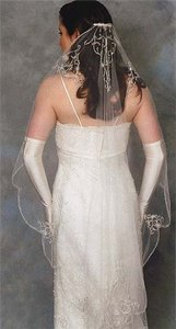Ansonia Bridal Diamond White Embroidery Fingertip 862 Wedding Veil