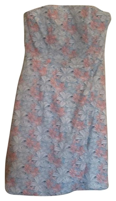 Item - Blue Pink Peach Floral Seaside Tiger Lily Above Knee Short Casual Dress Size 2 (XS)