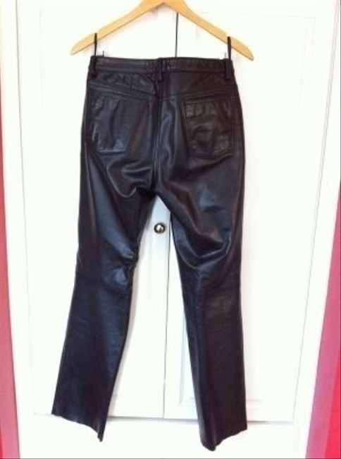 Banana Republic Lea Leather Straight Pants Black