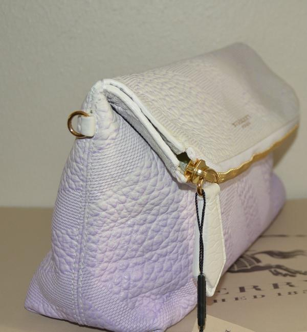 Item - Check Petal Purse Italy White / Pale Grape Leather Clutch