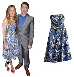 Periwinkle w/ Floral Design Maxi Dress by Bitten by Sarah Jessica Parker Summer Chic Wedding Nwot Midcalf