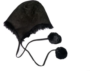 Other Leather suede pom-pom helmet hat
