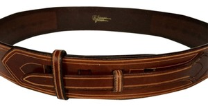 HAND TOOLED WESTERN STYLE BROWN LEATHER BELT