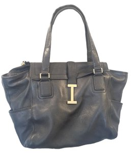 Isaac Mizrahi Black Leather Designer Tote